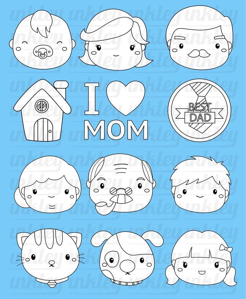 Family Icon Clipart Cute Family Tree Clip Art Black And Etsy In 2021 Clip Art Cute Family Free Clip Art