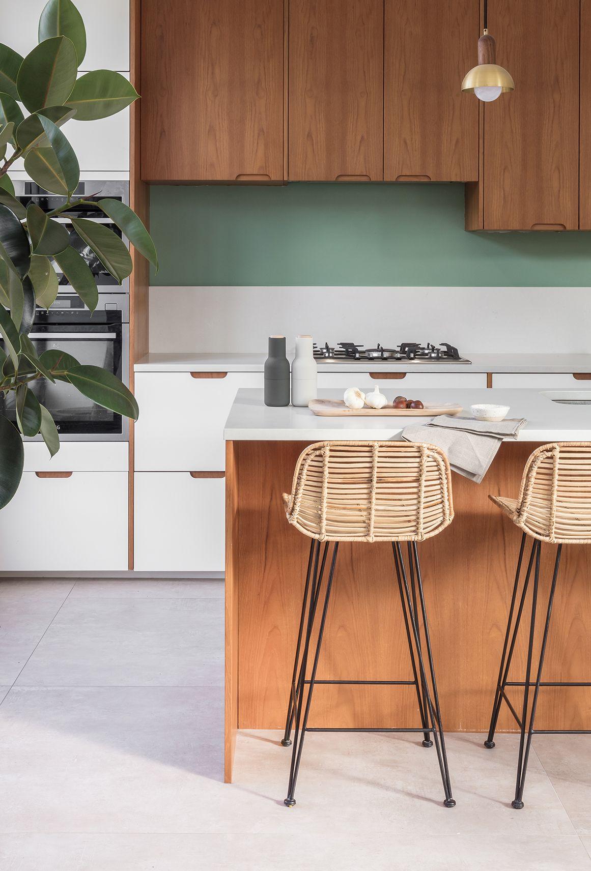 Midcentury style teak & white kitchen in 2020 Concrete