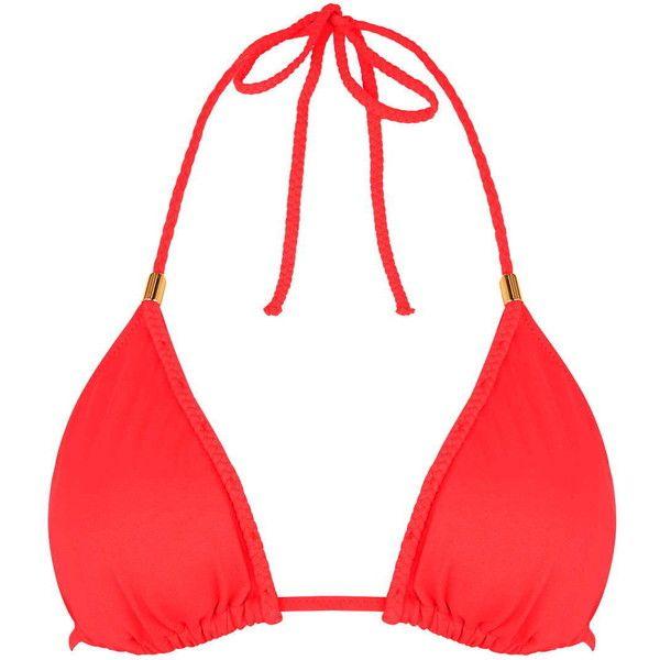 TOPSHOP Braided Triangle Bikini Top (£13) ❤ liked on Polyvore featuring swimwear, bikinis, bikini tops, red, red bikini, triangle bikini, beach swimwear, tankini tops and topshop bikini
