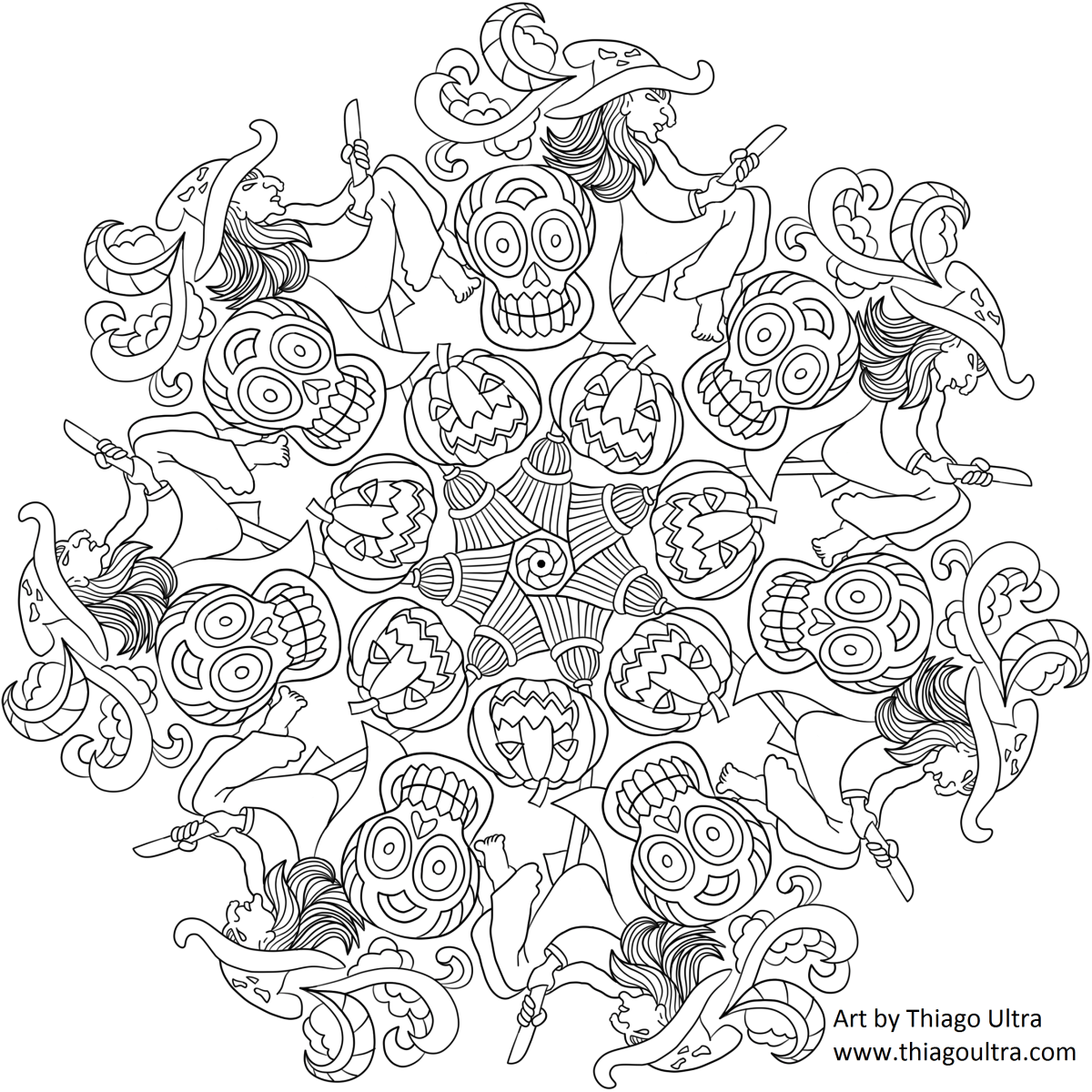 Free Coloring Page Halloween Mandala Mandala Do Halloween Mandala Coloring Pages Coloring Pages Mandala Coloring