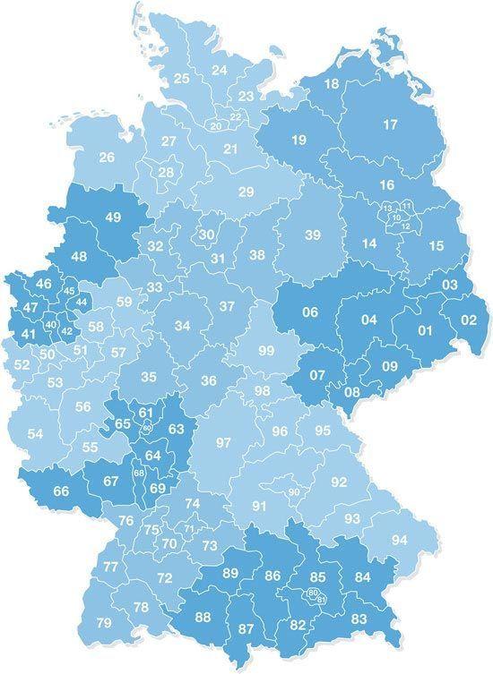 Postal Codes in Germany Postleitzahlen deutschland