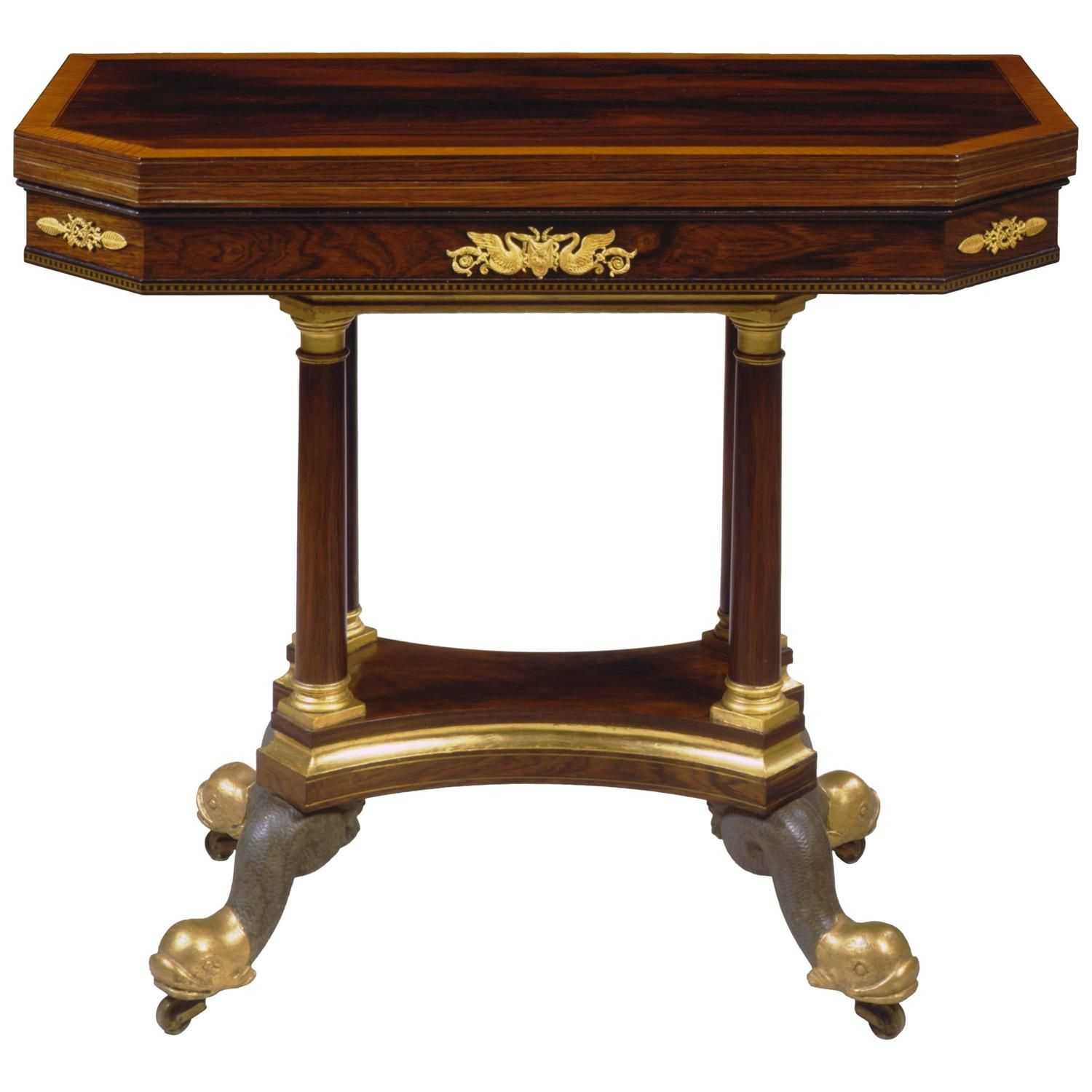 Very fine brass inlaid gilt bronze mounted games table by duncan very fine brass inlaid gilt bronze mounted games table by duncan phyfe from geotapseo Gallery