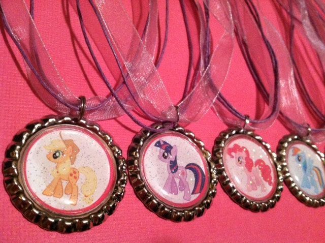 """have games and do """"medals"""" Sale SIX My LITTLE PONY party favor bottlecap necklaces My Little Pony necklaces"""