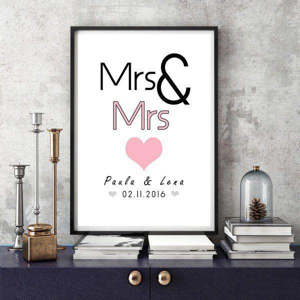 Weiteres Mrs Mrs Din A3 Hochzeitstag Kunstdruck Ein De