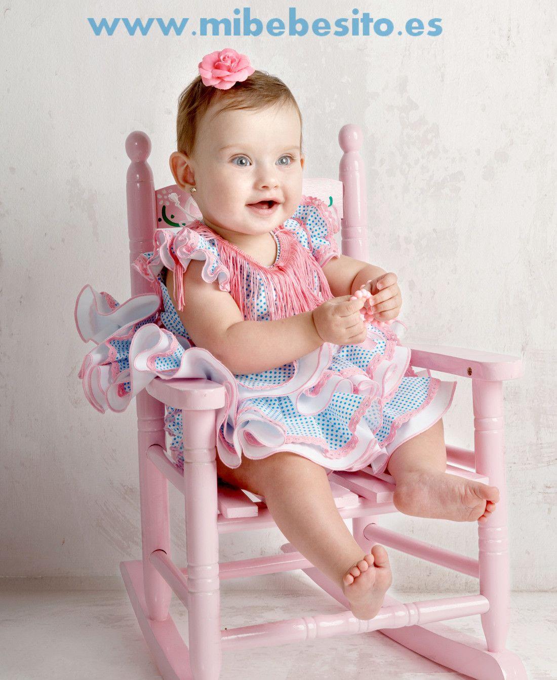 Vestido de gitana para bebés blanco con lunar turquesa pequeño  e3d9eabebbbf