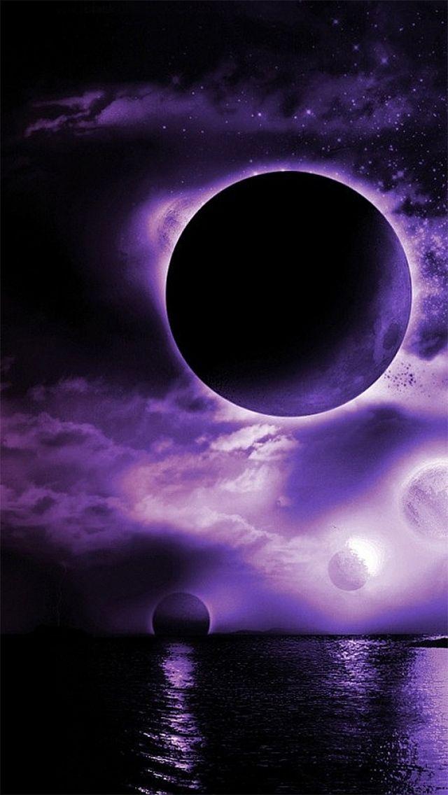 Purple Worlds Dark Fantasy Space Iphone Wallpaper Nature Purple
