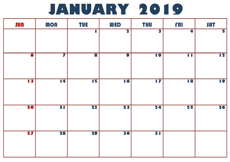 Blank Calendar January 2020 Template Word Excel Excel Calendar