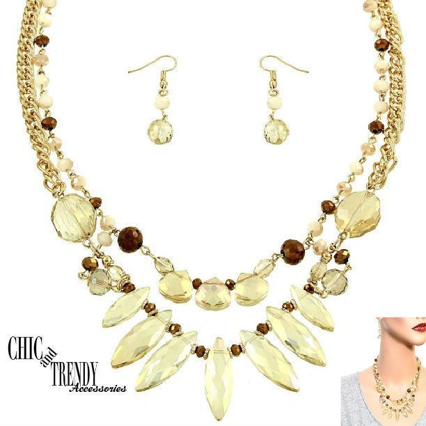 HIGH END GOLD AURORA BOREALIS GLASS CRYSTAL CHUNKY NECKLACE JEWELRY