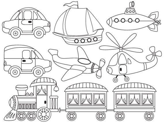 Item Black And White Transport Clipart Digital Vector Transport Boat Steam Train Car Helicopter Plane Boys Clip Art Transportation Black And White