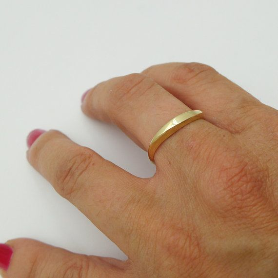 Brushed Gold Wedding Ring Delicate Simple Ring For Woman Minimalist Gold Ring Handmade Of 14k 18k Solid Gold Dainty Wedding Band Ring In 2020 Brushed Gold Wedding Ring Brushed Gold