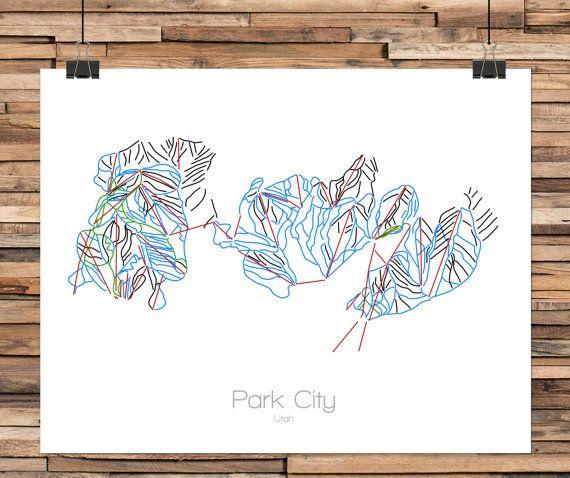 Park City Utah With Canyons Modern Ski Trail Map Line Drawing Park City Ut Park City Trail Map Map Art Print