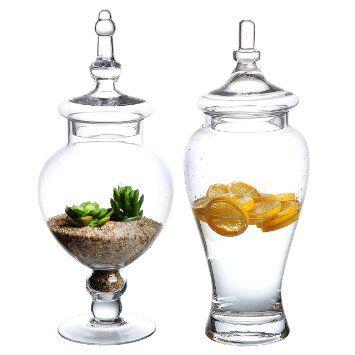 Large Decorative Jars Set Of 2 Large Decorative Clear Glass Apothecary Jars  Wedding