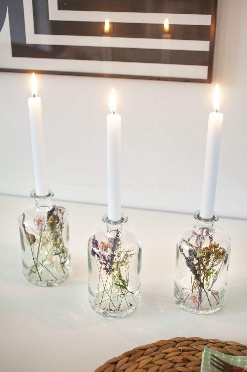 Trockenblumen-Kerzenständer an Gin – makajumy.de