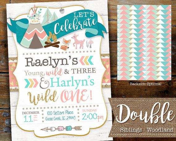 Sibling twin woodland birthday invitation boho by designtrunkinc sibling twin woodland birthday invitation boho by designtrunkinc stopboris Image collections