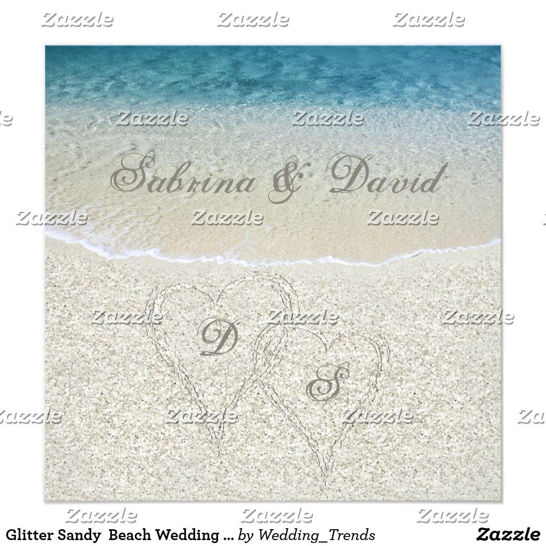 Glitter Sandy Beach Wedding Invitation | Beach Wedding Invitations ...