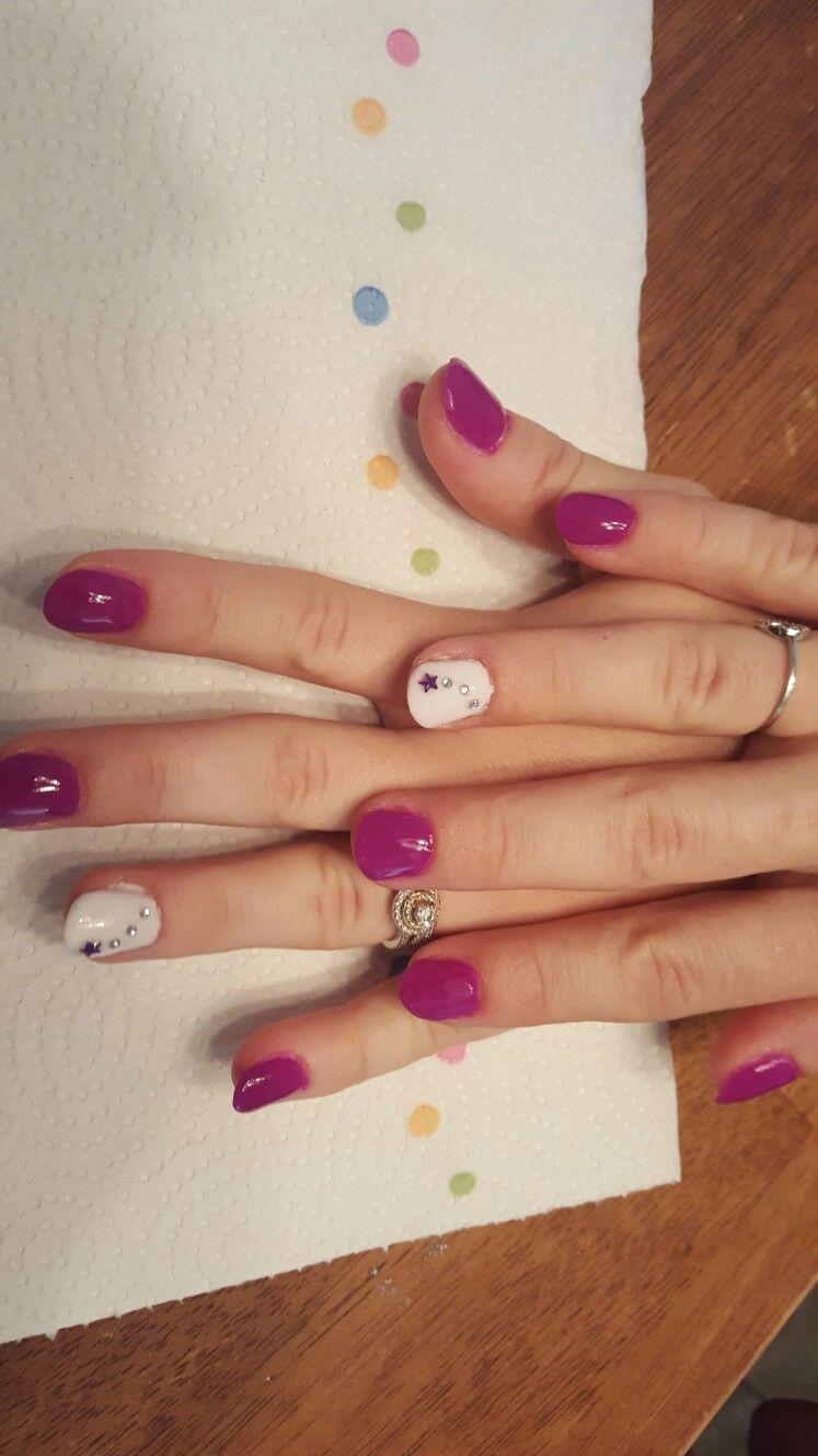 Anc nail dip neon purple 152. And revel nail dip powder white D74 veronica.