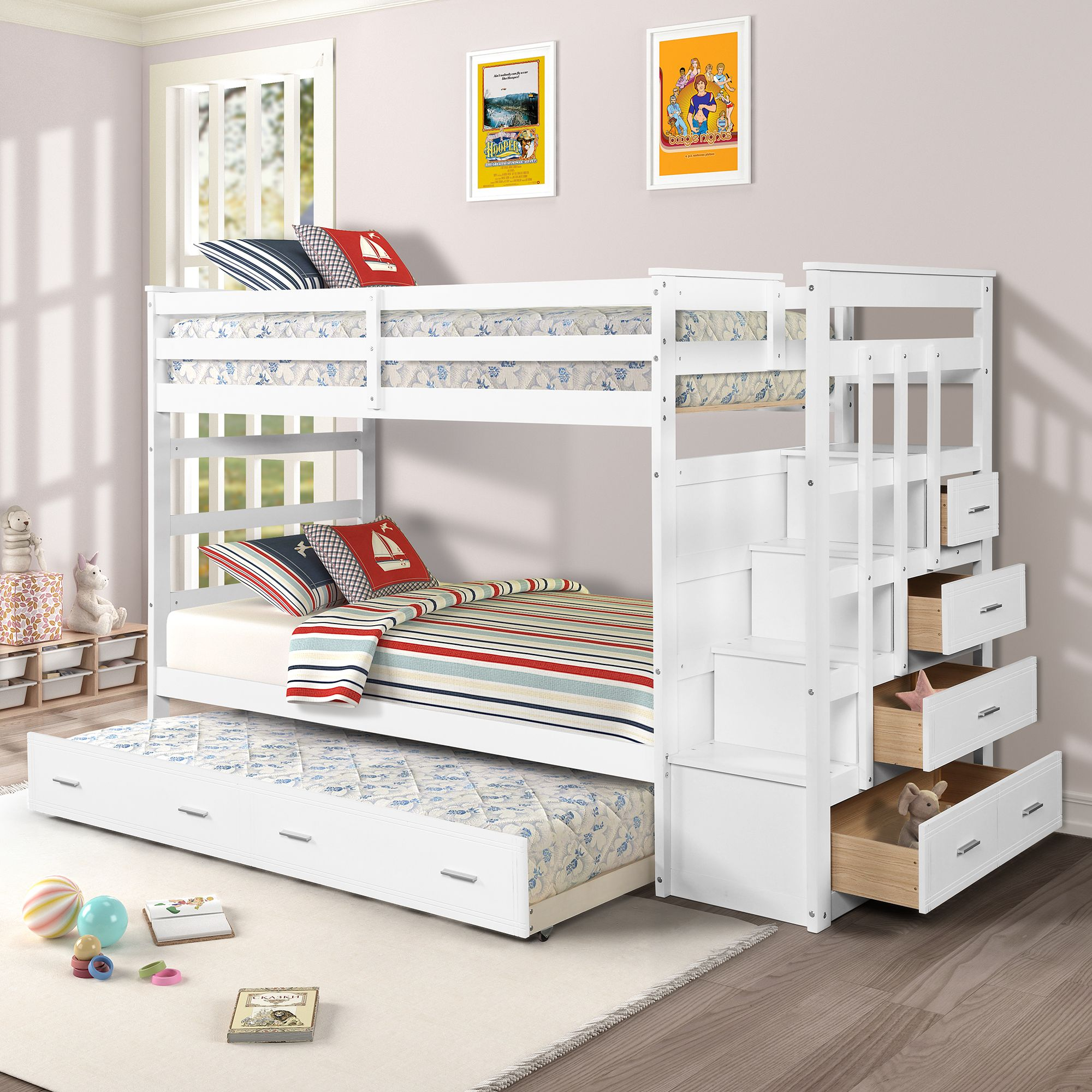 Free 2 Day Shipping Buy Harper Bright Designs Twin Over Twin Wood Bunk Bed With Trundle Storage Drawers Mult Bunk Bed With Trundle Wood Bunk Beds Bunk Beds Cheap twin over twin bunk beds