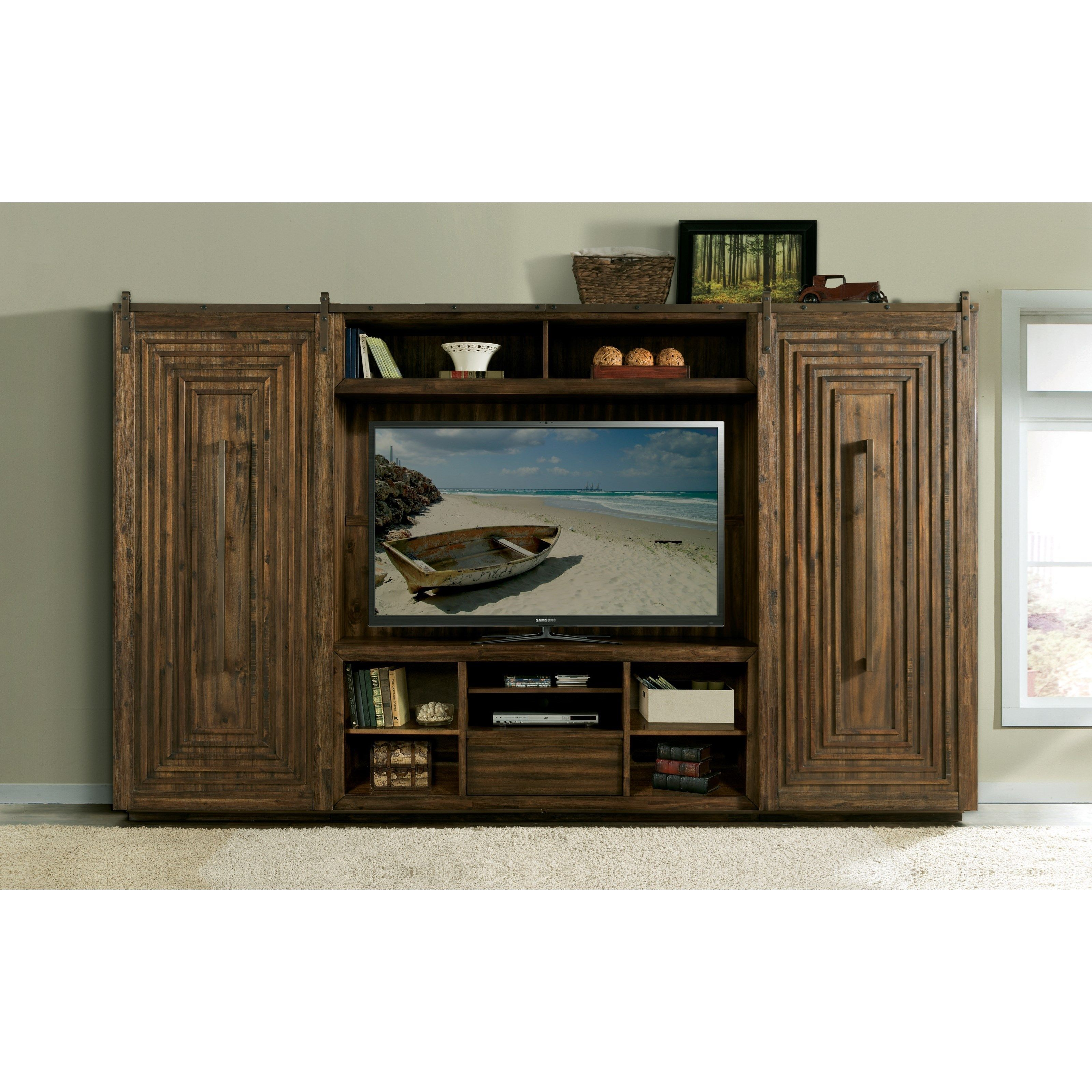 Modern Gatherings Entertainment Wall Unit With Contemporary Sliding Barn  Doors By Riverside Furniture At Lindyu0027s Furniture Company