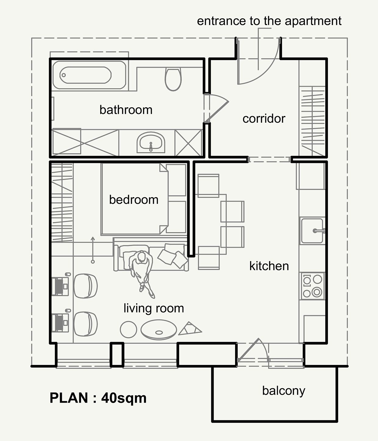 Living Small With Style 2 Beautiful Small Apartment Plans Under 500 Square Feet 50 Square Meters Small Apartment Plans Apartment Layout Apartment Plans