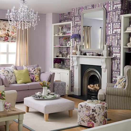 Lilac Living Room Ideal Home Housetohome Purple Wallpaper For