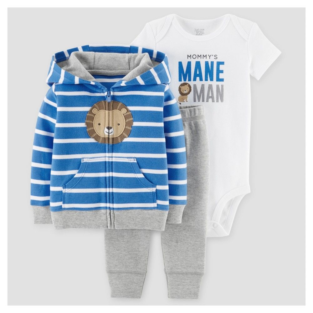 e09b3f6d1 Baby Boys  3 Piece Lion Mane Man Cardigan Set Blue Stripe 9M - Just ...
