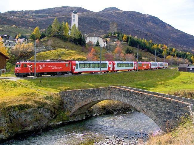 Glacier Express -- Glacier Express travels through Hospental, Switzerland.
