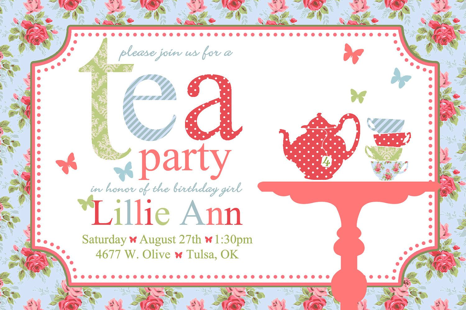 Printable  Shabby Chic Tea Party  Birthday Invitations  Digital