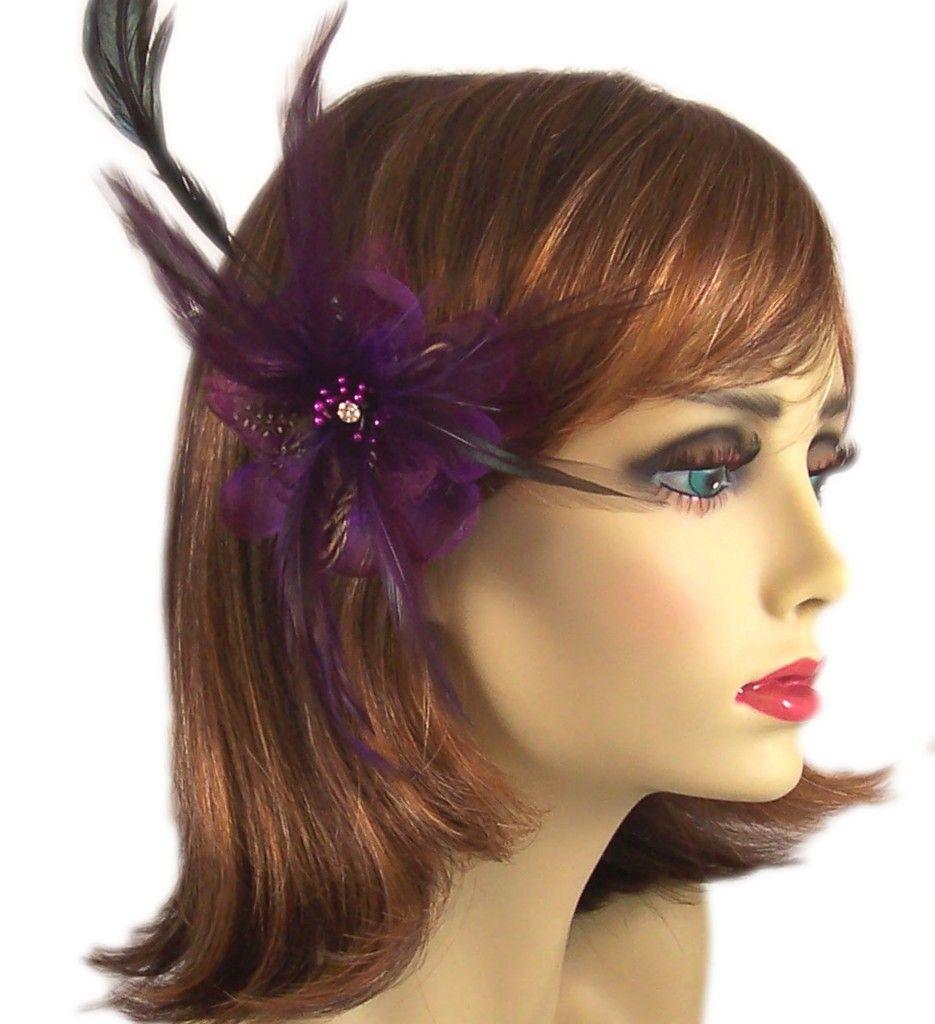 Feather flower fascinator brown black rhinestone accent hair clip
