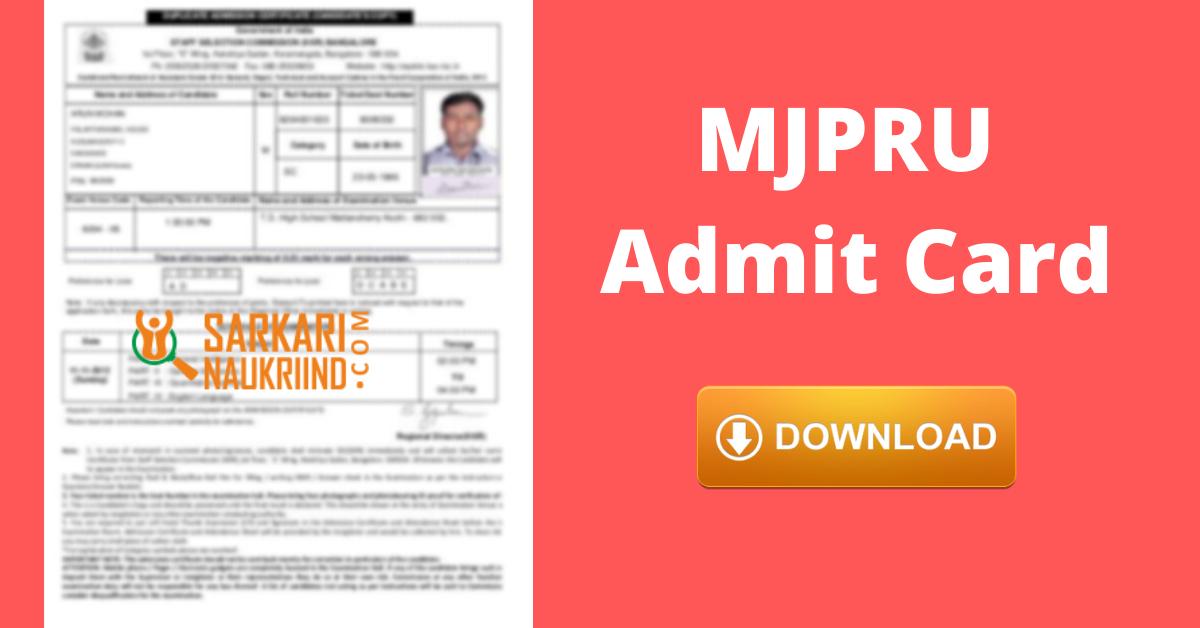 Mjpru Admit Card 2020 Download Ug Pg Exam Mjpru Admit Card Online Exam Student Dashboard College Names