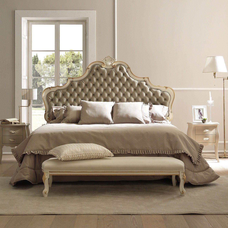 Lit baroque Amburgo avec tête de lit rembourrée capitonnée ...