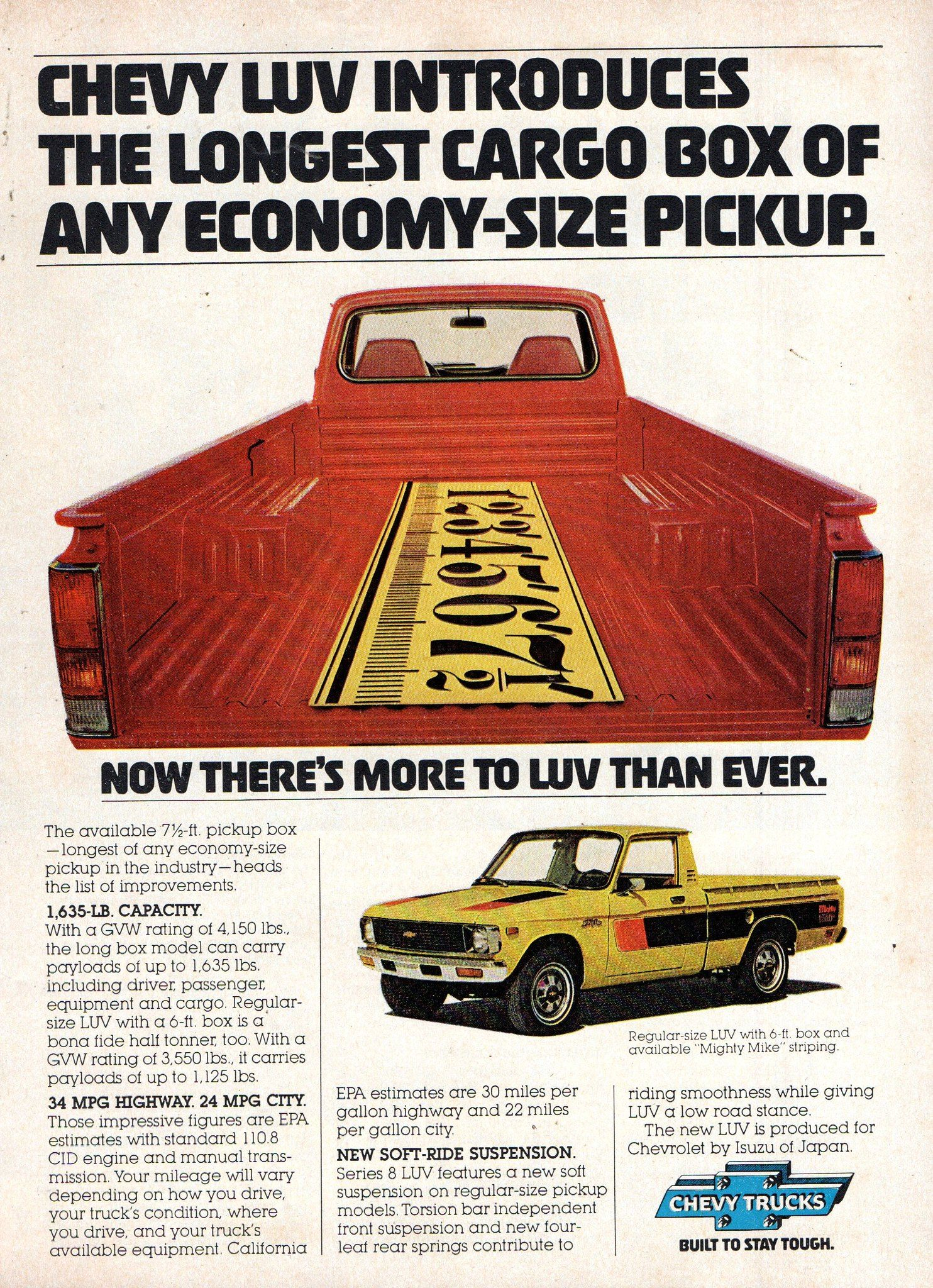 1978 Chevrolet Luv Light Utility Vehicle Usa Original Magazine