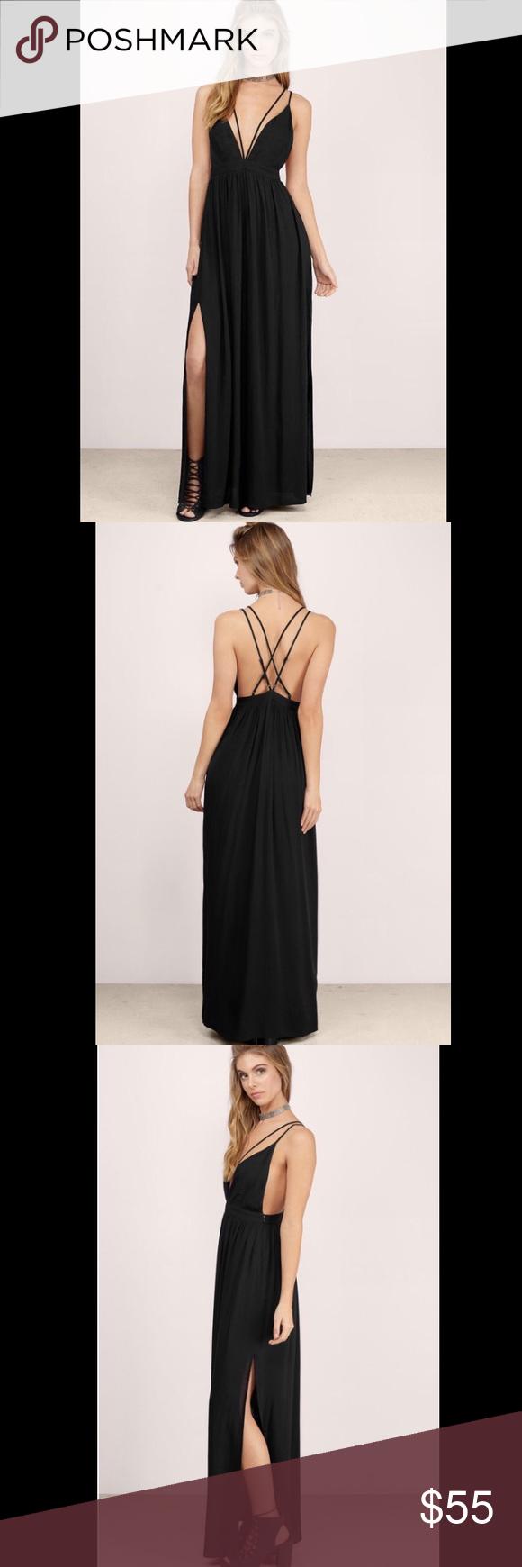 Elegant long black formal dress nwt neckline maxis and tags