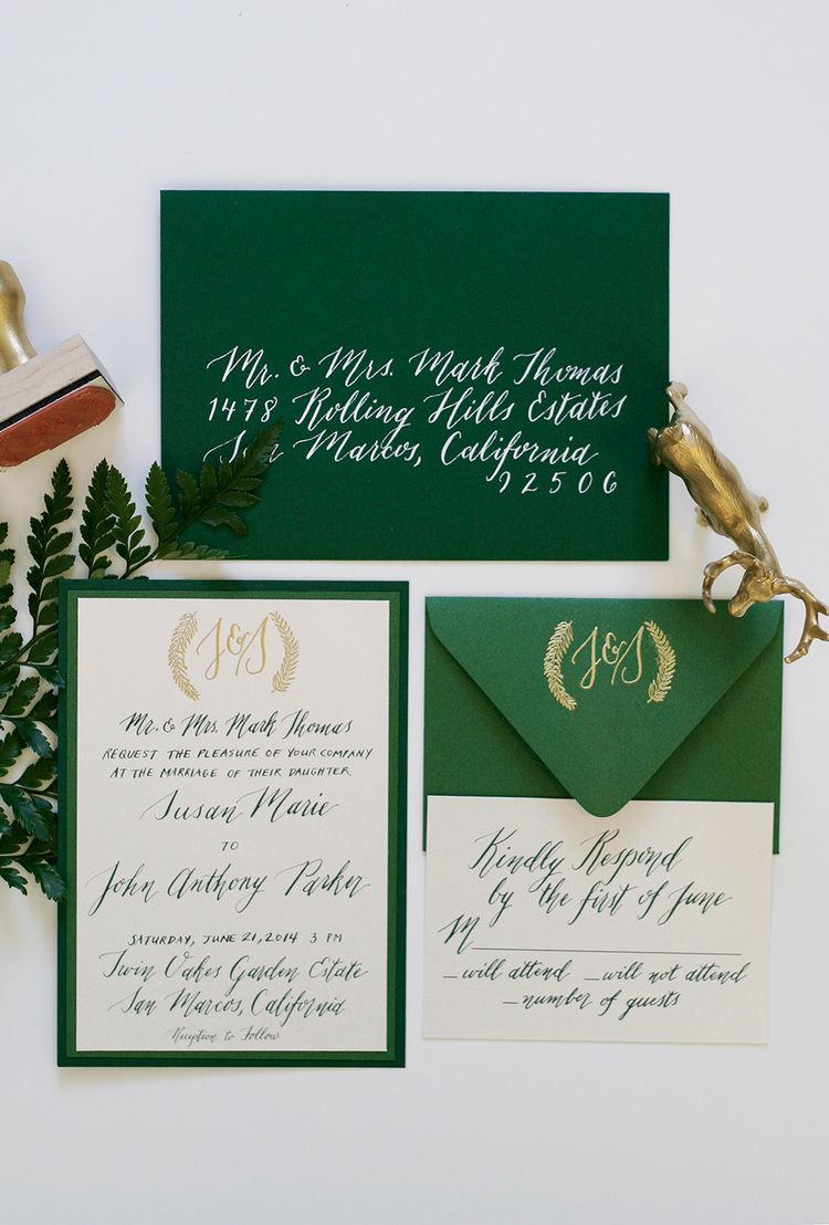 Enchanted forest wedding theme with green gold and white enchanted forest wedding theme with green gold and white invitation custom monogram stamp stopboris Choice Image