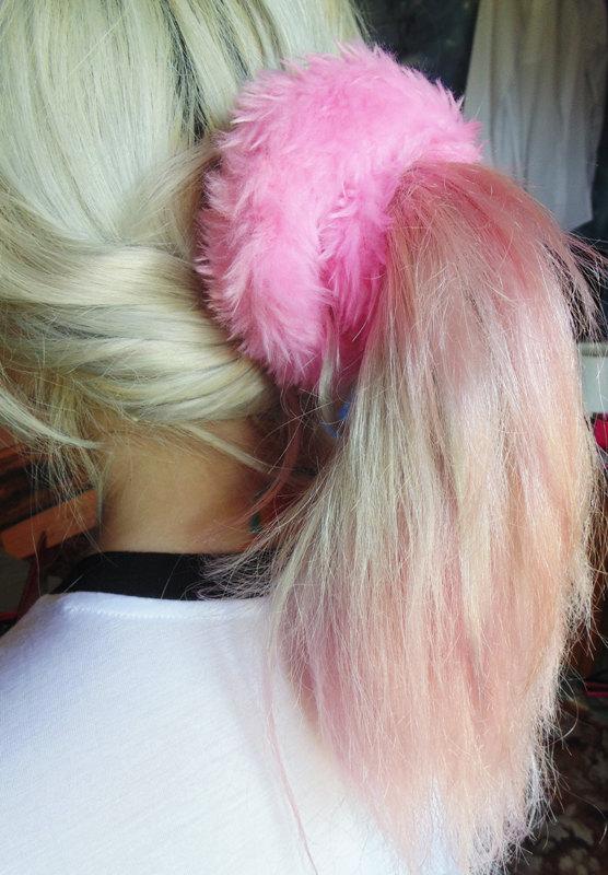 Clueless 90s Kawaii Furry Hair Scrunchie 11789b64205