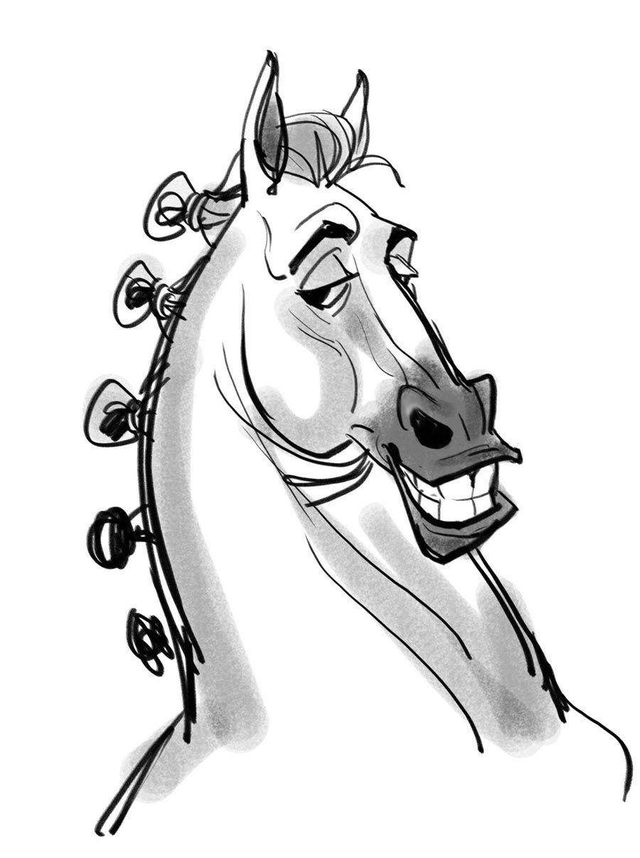 Поздравительные, смешной рисунок головы лошади