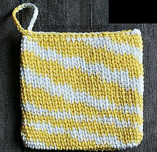Waistcoat Stitch Potholder by Oombawka Design  Published in Oombawka Design by Rhondda Craft Crochet Category Potholder Published July 2014 Suggested yarn Bernat Handicrafter Cotton Solids Yarn weight Worsted / 10 ply (9 wpi)  Hook size 4.5 mm Sizes available Customizable