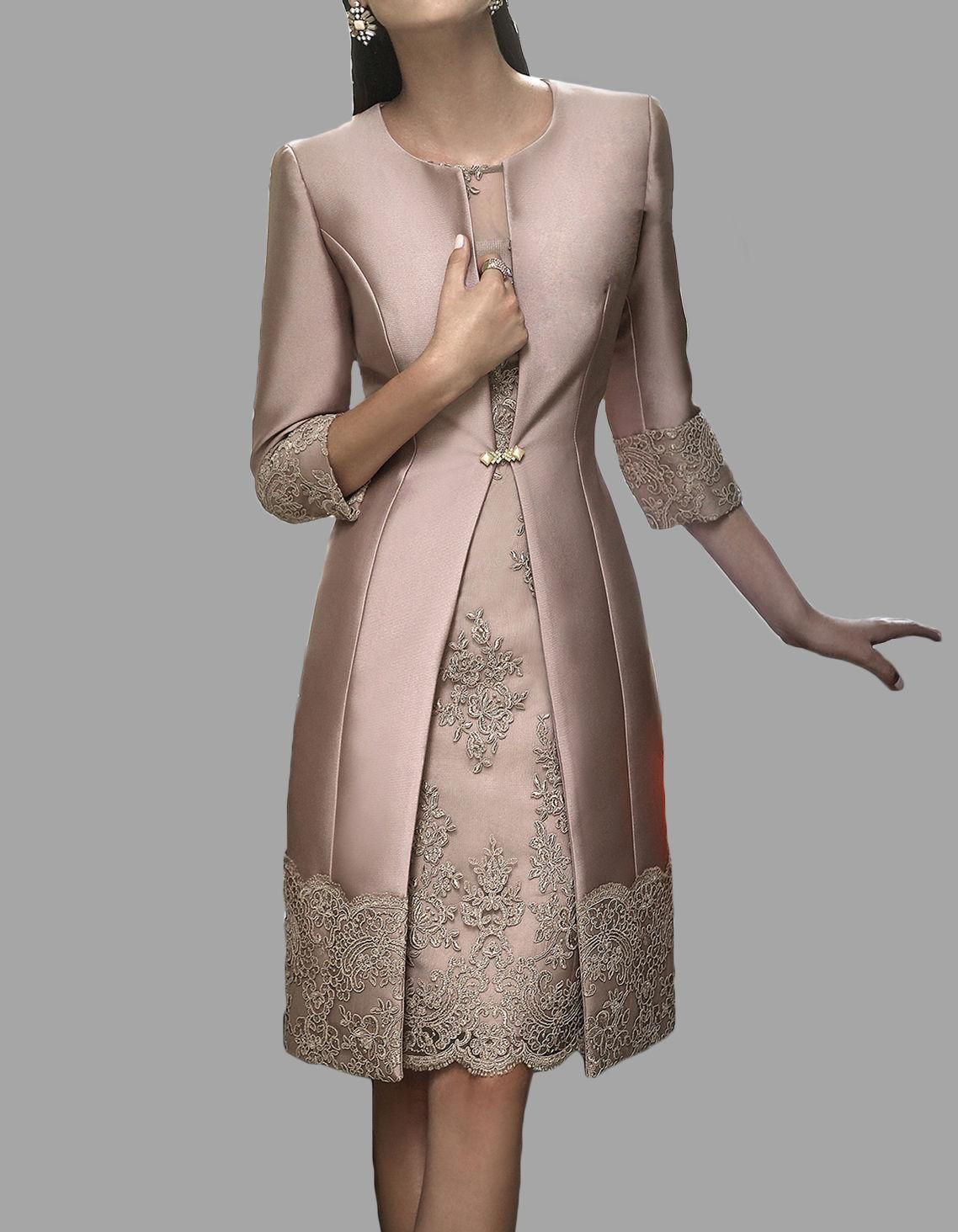 Fast delivery sheath mother of the bride lace dresses with for Wedding dress long sleeve lace jacket