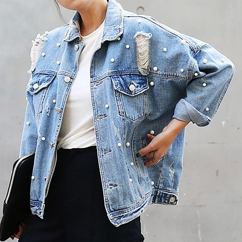 Cheap coat nylon, Buy Quality jacket camouflage directly from China jackets  girls Suppliers  Denim Jacket Women Thin Rhinestone Pearl Beaded Denim  Ladies ... 601f7b546e