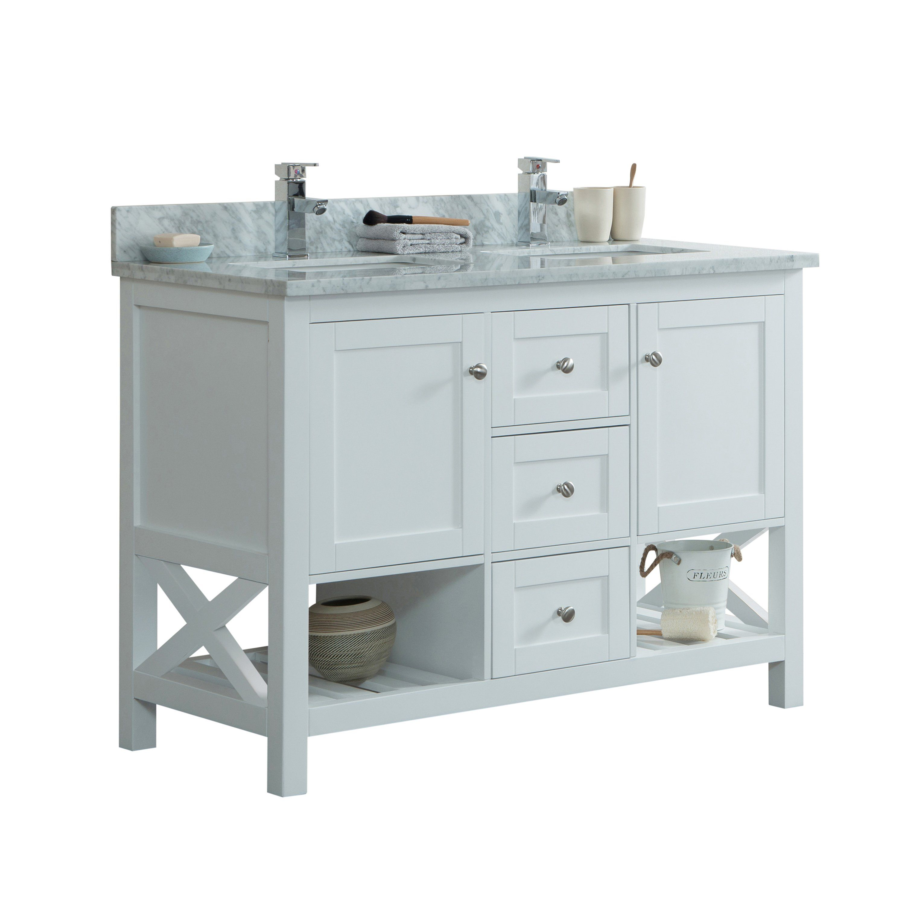 48 Taiya Bathroom Vanity In Toga White Double Sink Broadway Vanities Bathroom Vanities For Sale Vanity Tops With Sink Blue Bathroom Accessories