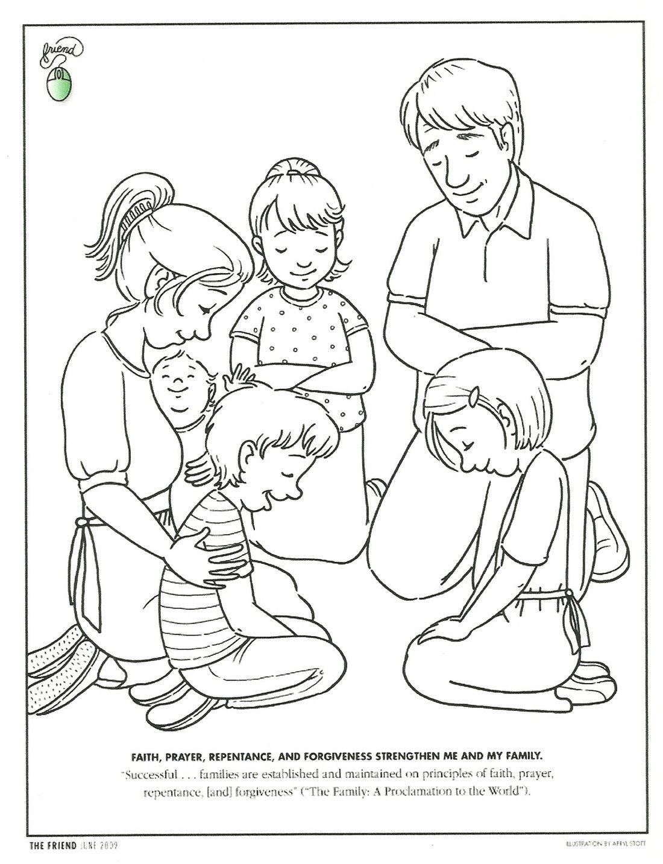 Dibujo Para Colorear Familia Orando Familia Orando Escuela