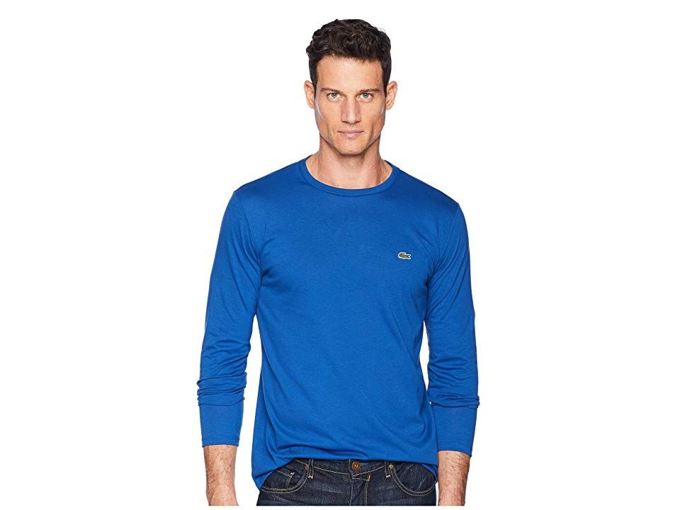 3428b97e Lacoste Long Sleeve Pima Jersey Crew Neck T-Shirt (Electric) Men's T Shirt.  Expand your weekend wardrobe with a Lacoste Pima Jersey T-Shirt for a  relaxed ...