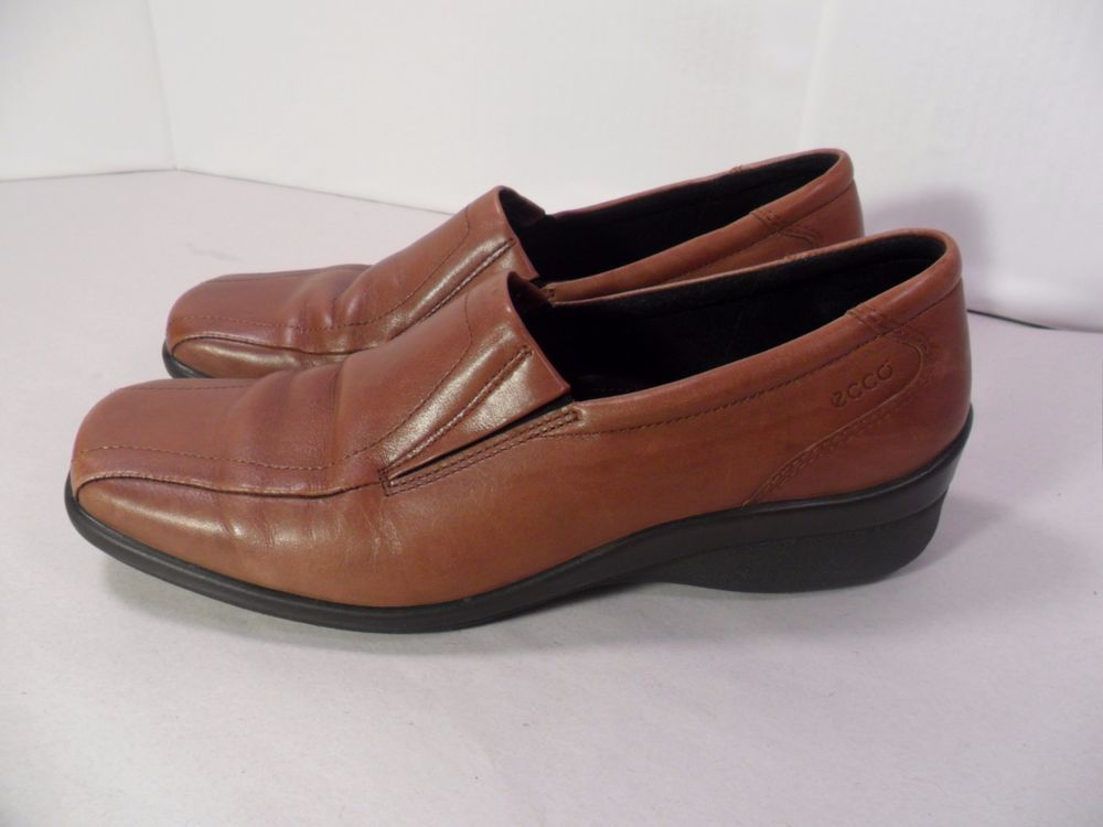 Women's Ecco Shoes Brown Leather Slip On Loafer Shock Point