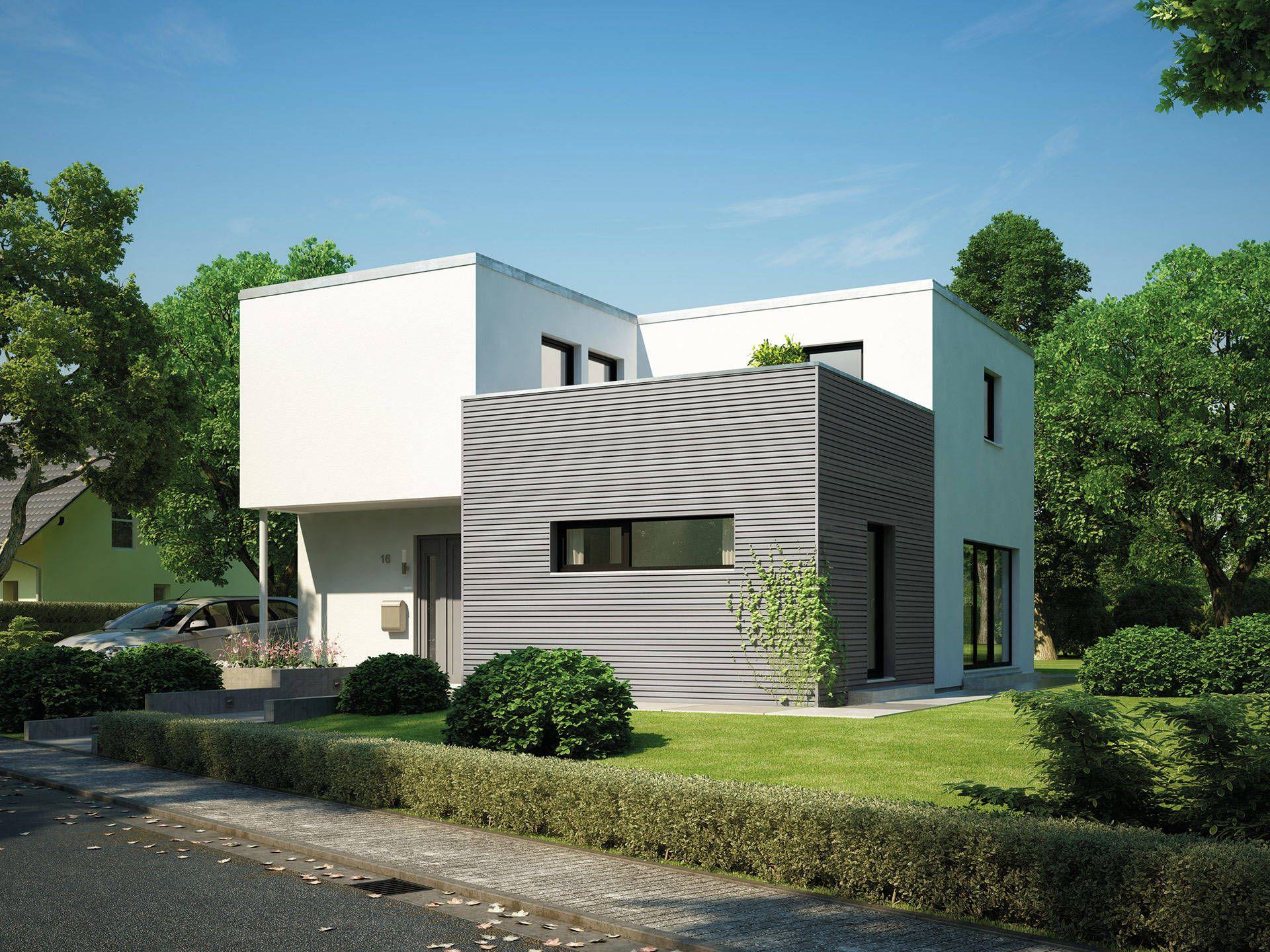 cubus 162 bauhaus cubus von hanse haus fertighaus mit flachdach und zweil ufiger. Black Bedroom Furniture Sets. Home Design Ideas