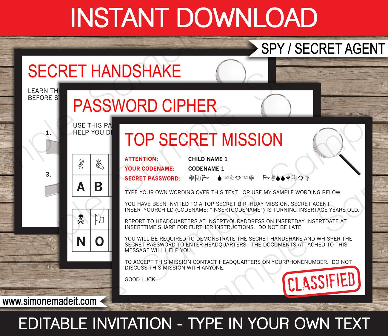 Spy Party Invitation - Secret Agent Party Invitation - Birthday ...