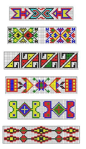 Sioux Indian Beadwork Patterns | If you want a page containing copies of these strips, click here . #nativeamericanbeadworkpatters