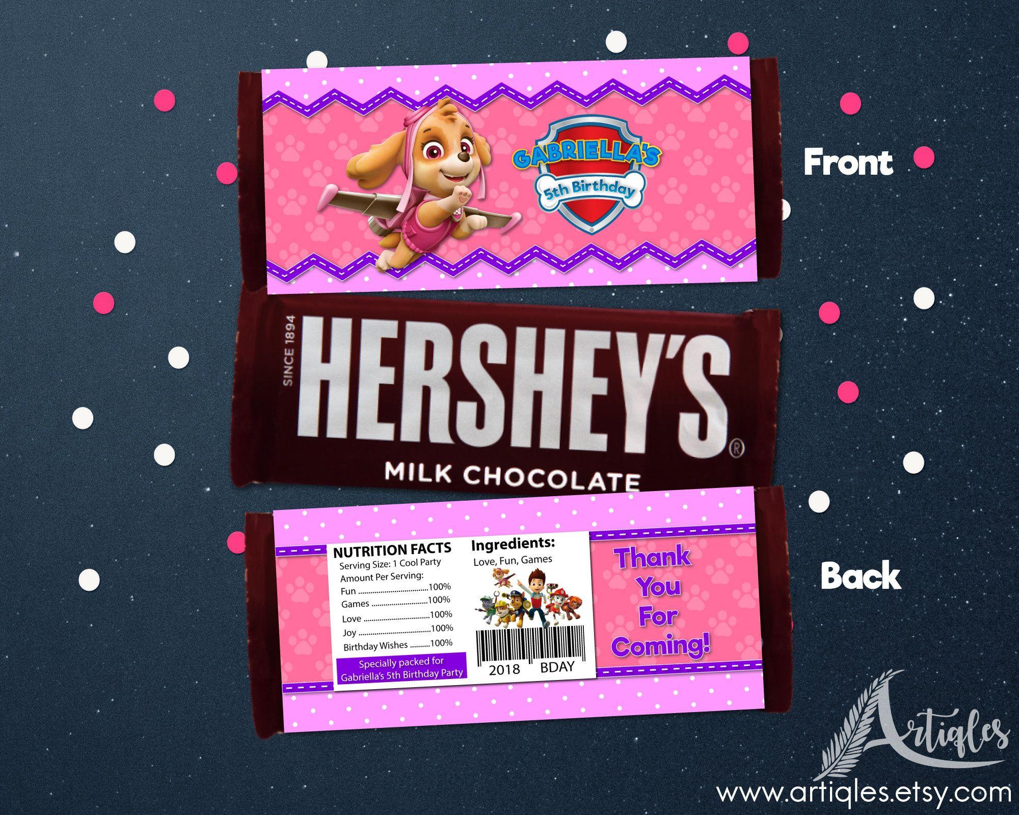 Personalized Paw Patrol Skye Hershey S Chocolate Candy Bar