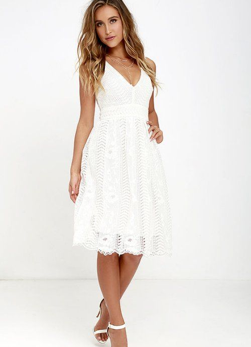 4548111bb2a2 cute white lace summer cocktail midi dress lulus