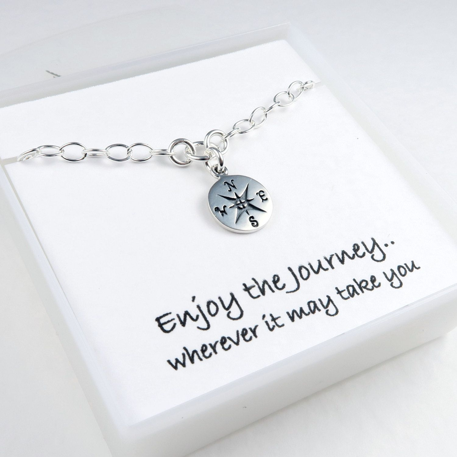 5a53f5acb7 Sterling Silver Compass Bracelet with Message Card , Traveler Good Luck  Jewelry or for Graduation Gift