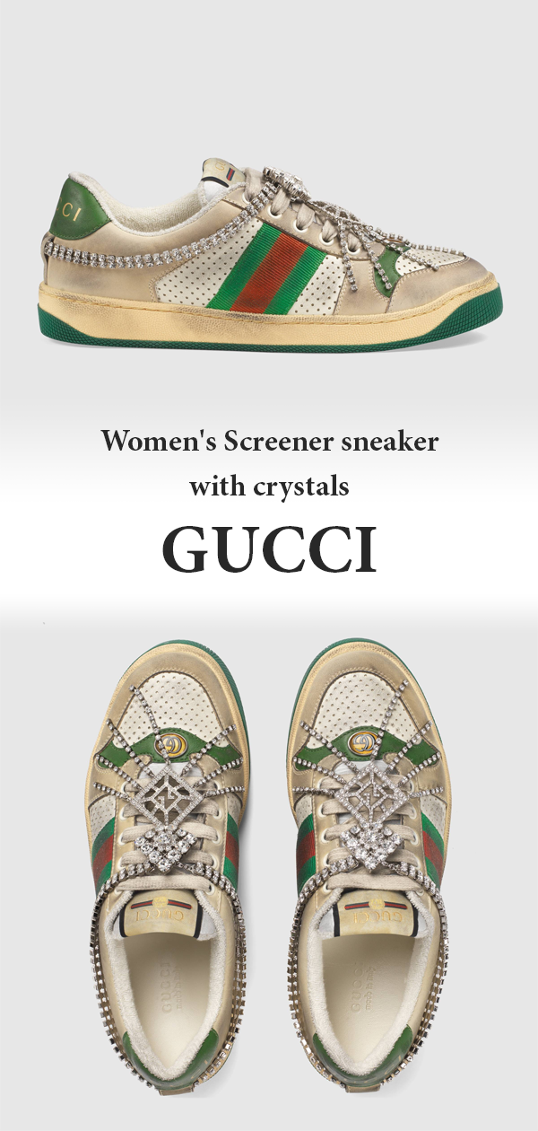 caf3f5fca Women's Screener sneaker with crystals in 2019 | Gucci collection