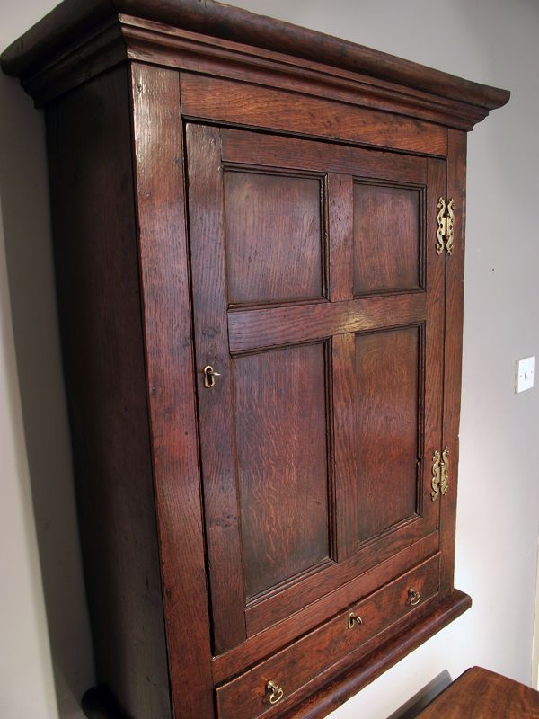 Antique Hanging Wall Cabinet Oak Cupboard